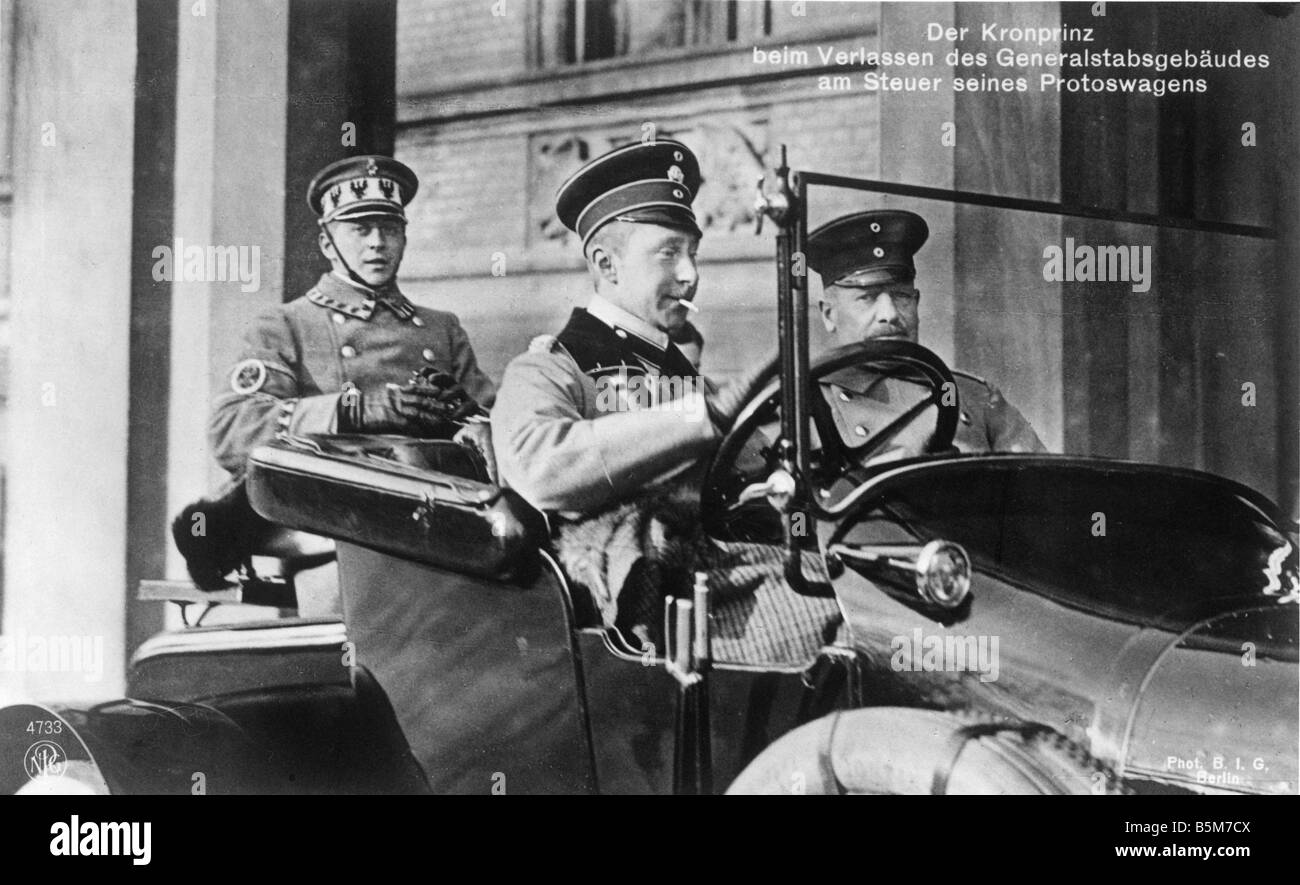 1 W265 F1914 30 E Crown Prince Wilhelm in driver s seat Wilhelm Crown Prince of the German Empire and Prussia 1882 - Stock Image