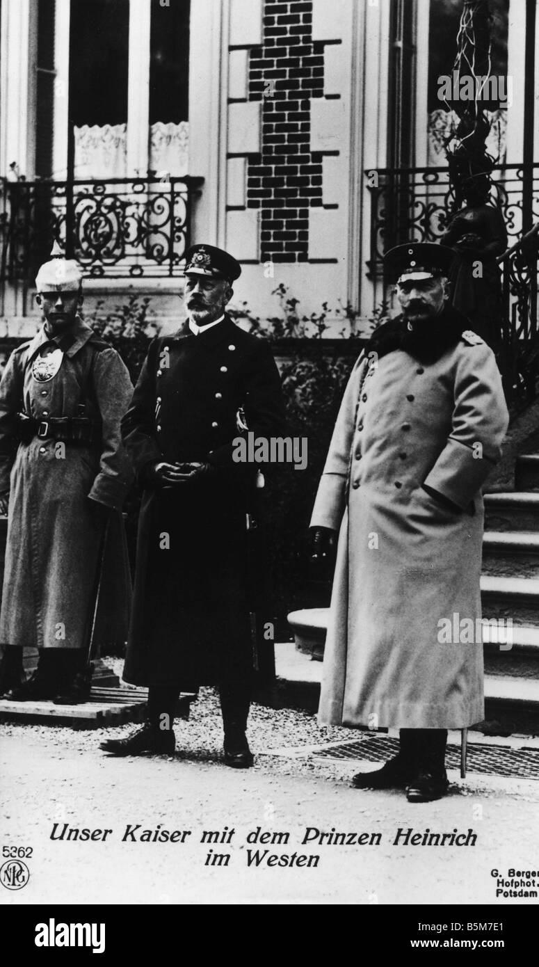 1 W46 F1915 7 E Wilhelm II and Prince Heinrich WWI Wilhelm II German emperor 1888 1918 1859 1941 During World War - Stock Image