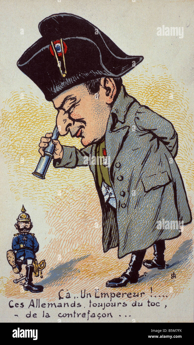 1 W46 G1915 10 E Wilhelm II and Napoleon I Caricature Wilhelm II German emperor 1888 1918 1859 1941 Ca Un Empereur Stock Photo