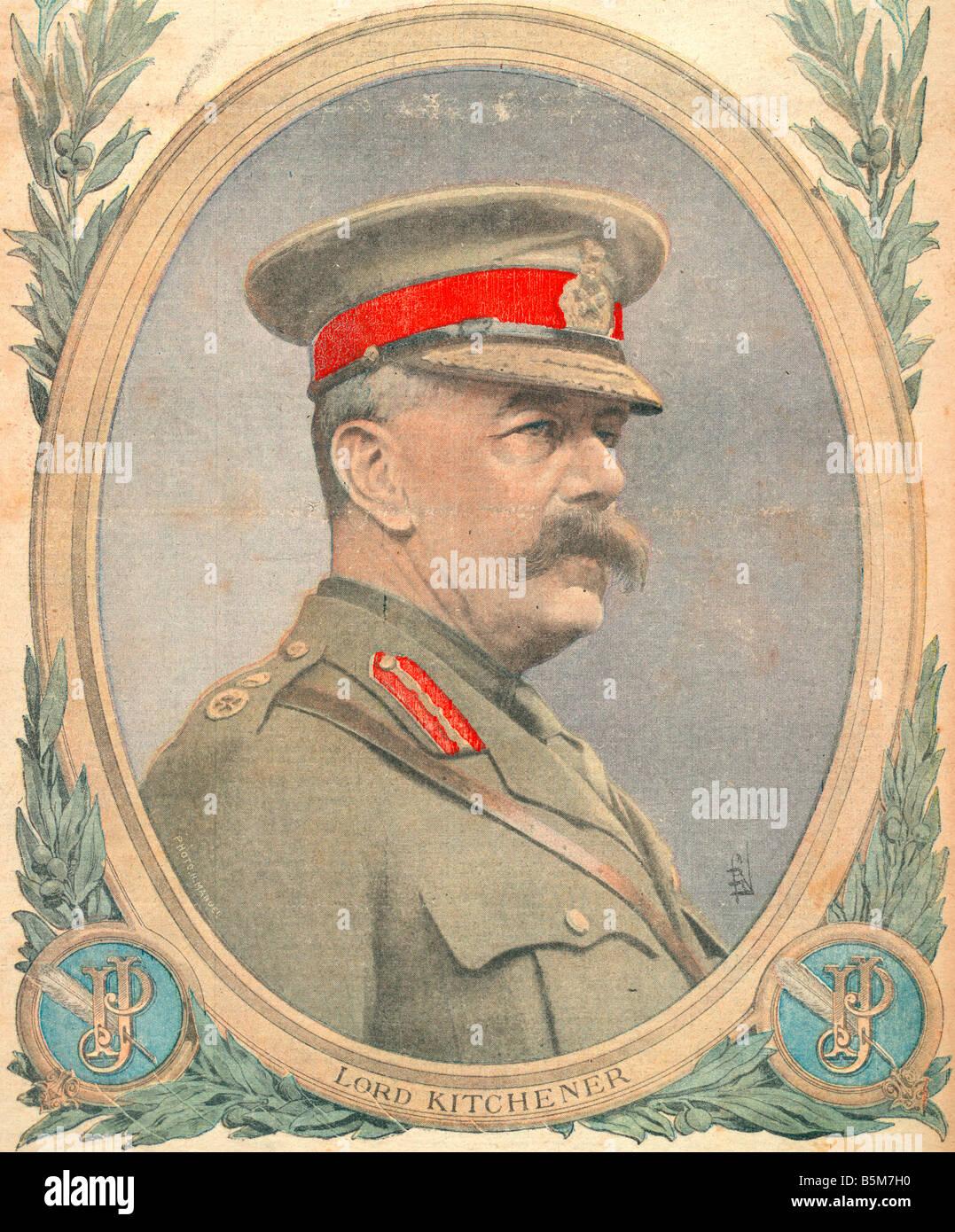 1EN 259 C1916 E Lord Kitchener From Petit Journal Kitchener Herbert Earl K of Khartoum Brit military since 1909 Stock Photo