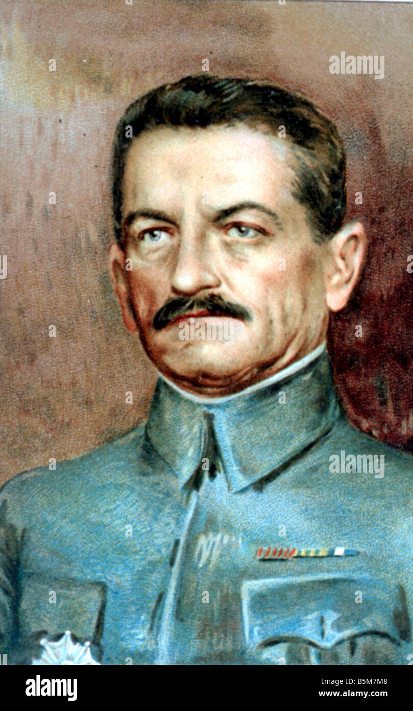 1FK 3245 C1916 E General Mangin Colour lithograph Mangin Charles French general commander of 10th French army 1918 - Stock Image