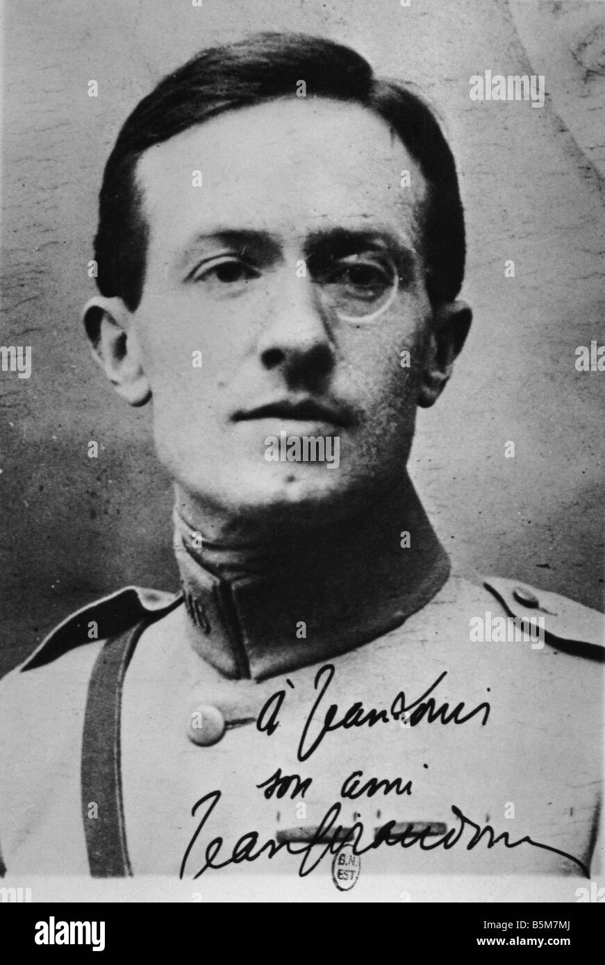 1FK 910 B1914 Jean Giraudoux Author Photo 1914 18 Giraudoux Jean French diplomat and author Bellac Haute Vienne - Stock Image