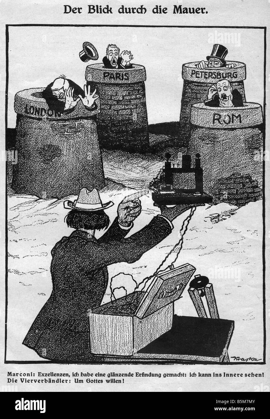 1IT 243 G1915 E Guglielmo Marconi Caricature 1915 Marconi Guglielmo Italian inventor founder of wireless communication - Stock Image