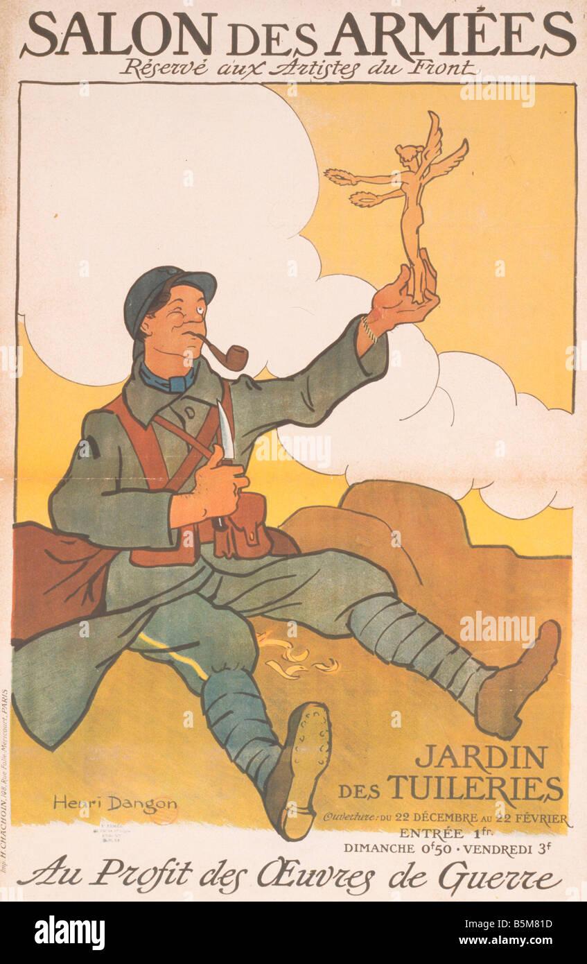 2 A71 A1 1916 1 French Art Exhibition WW I Poster Exhibitions Art Exhibitions SALON DES ARM ES Reserve aux artistes - Stock Image