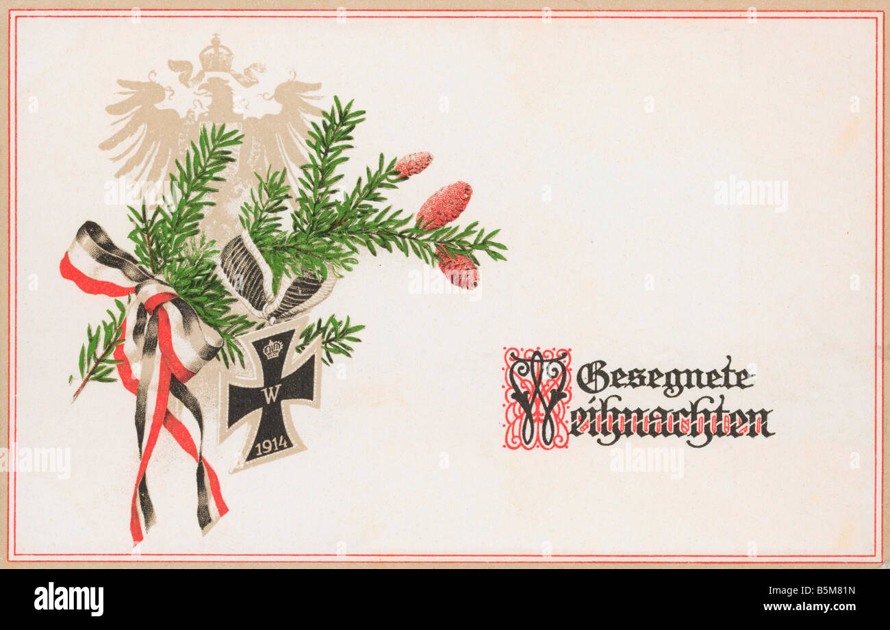 2 F15 P1 1914 2 Branch of Evergreen Postcard WWI Christmas Eve Postcard Gesegnete Weihnachten Branch of evergreen - Stock Image