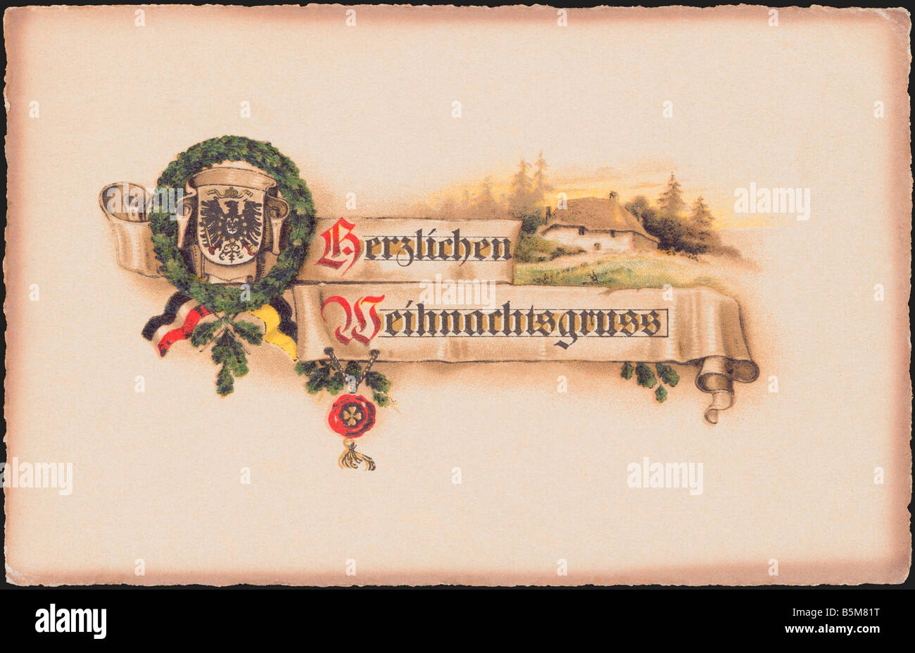 2 F15 P1 1916 1 Banner with Oak Wreath Postcard Christmas Postcards Herzlichen Weihnachtsgruss Baner with oak wreath - Stock Image