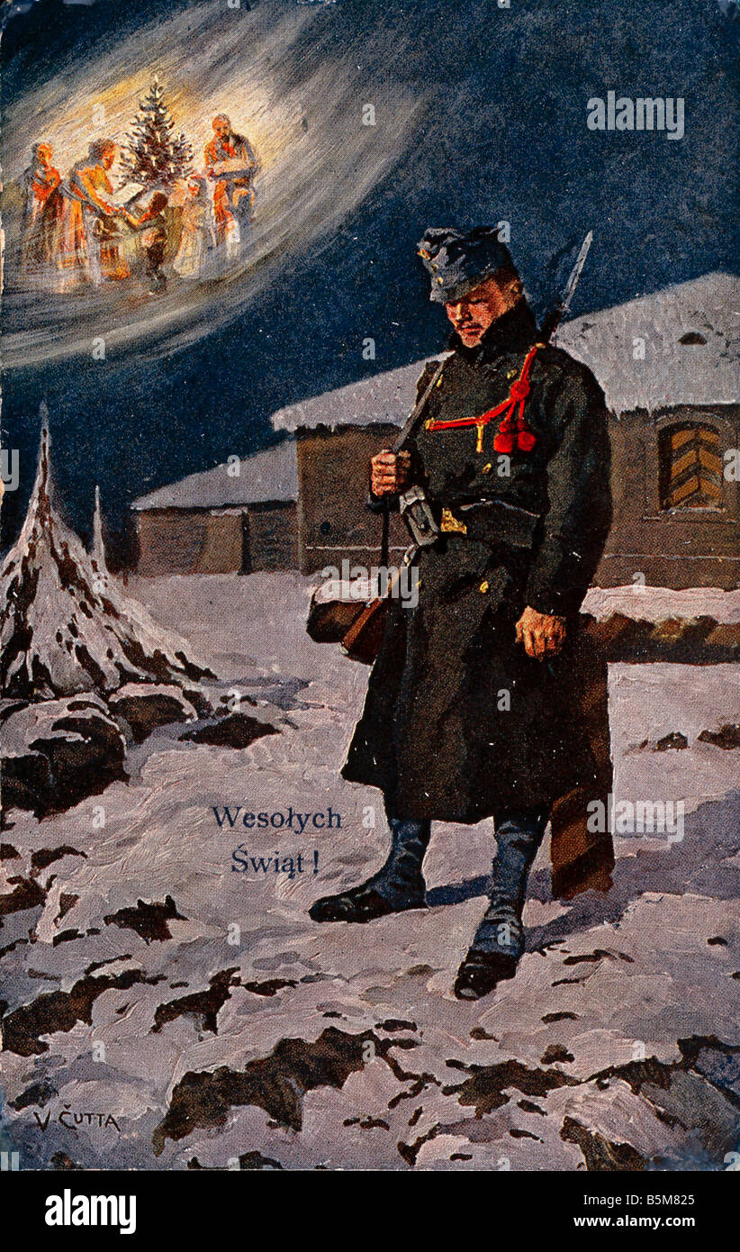 2 F15 W6 1915 E Christmas World War One Soliders Festivals Christmas War at Christmas Wesolych Swiat Bohemian sentry - Stock Image