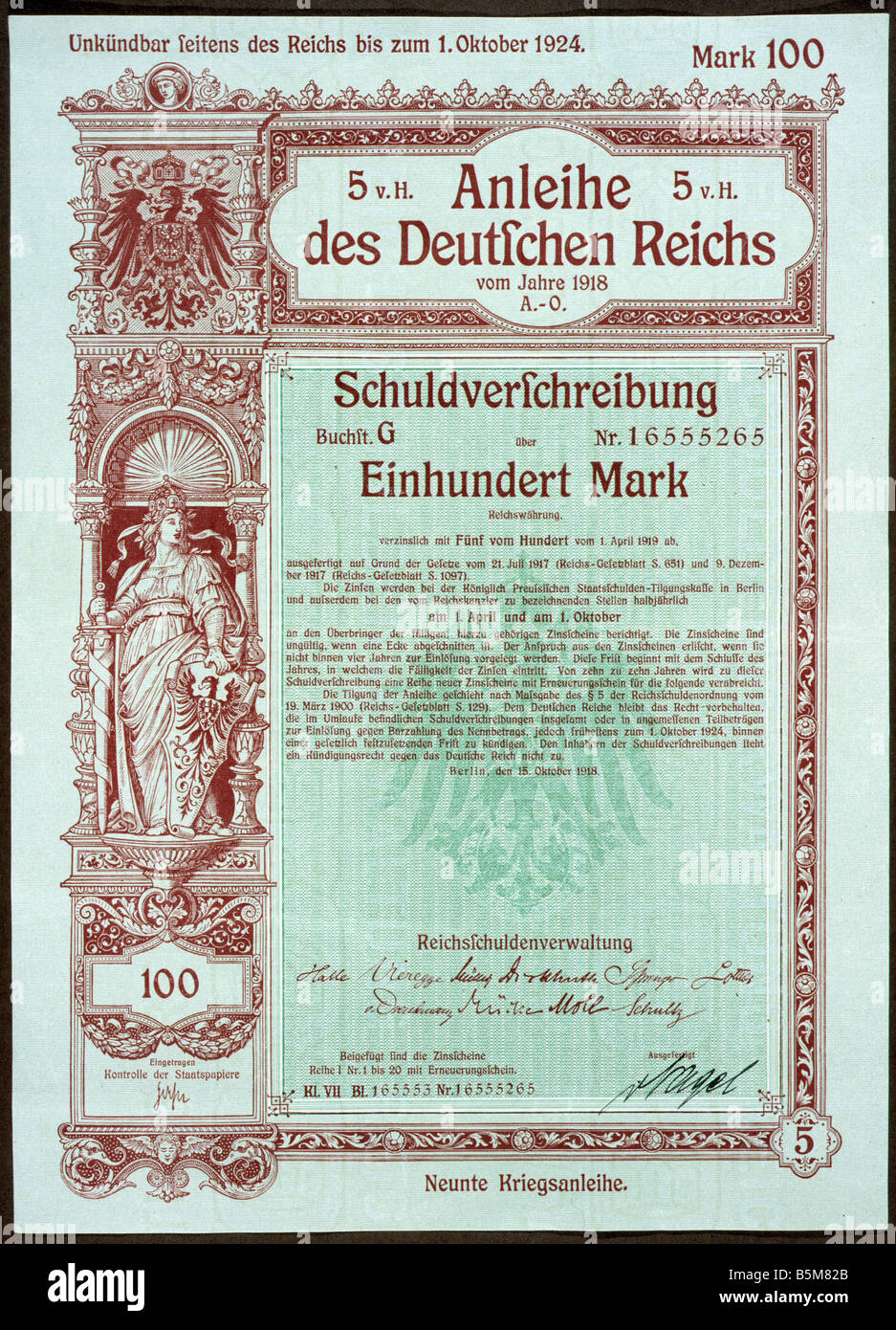 2 F20 A5 1918 9th War Bond German Reich 1918 Finance Bond Bond of the German Reich from 1918 valuing 100 Mark 9th - Stock Image