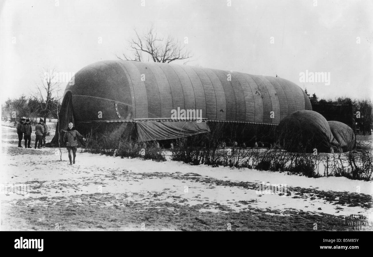 WWI Steerable Austrian airship Photo History First World War Aerial war Maneuverable Austrian airship Photo 1915 Stock Photo