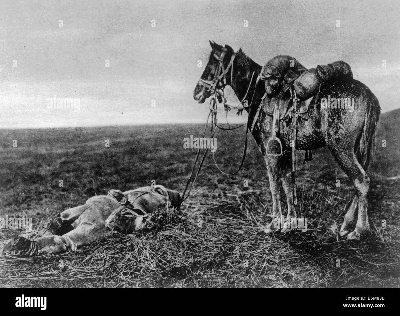 2 G55 B2 1916 16 WWI Balkans Fallen soldier and horse History World War I The Balkans A fallen soldier and his trusted - Stock Image