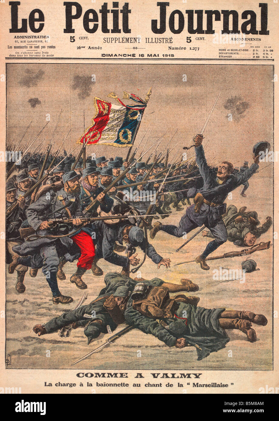 2 G55 F1 1915 2 Comme a Valmy 1915 from Petit Journal History World War One France Comme a Valmy La charge a la baion nette au c Stock Photo