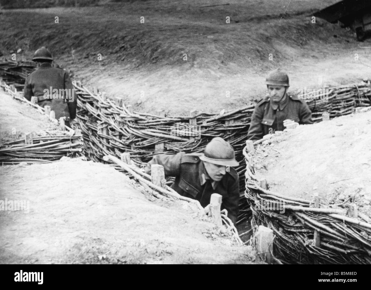 French troops in trenches World War I History France Trench warfare French soldiers in fortified trenches Photo - Stock Image
