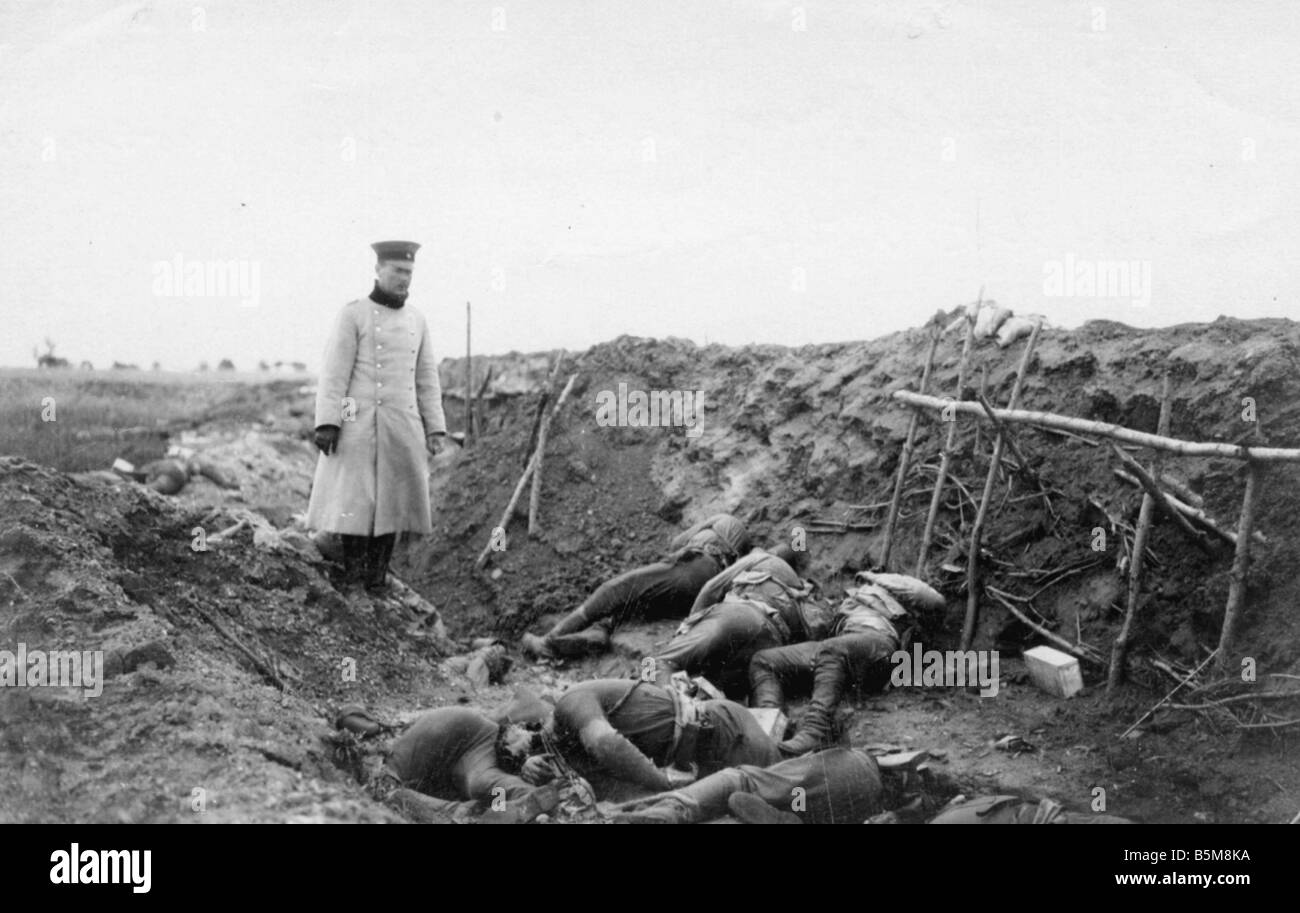 Bodies after a gas attack WWI 1916 History World War I Gas war Bodies in a Russian trench after a gas attack Photo - Stock Image