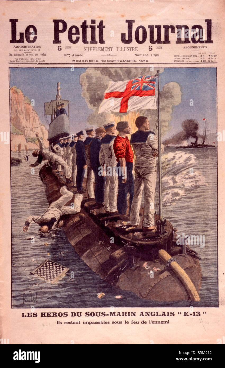 2 G55 M1 1915 7 E British submarine crew Petit Journal History World War I War at sea Les heros du sous marin anglais - Stock Image