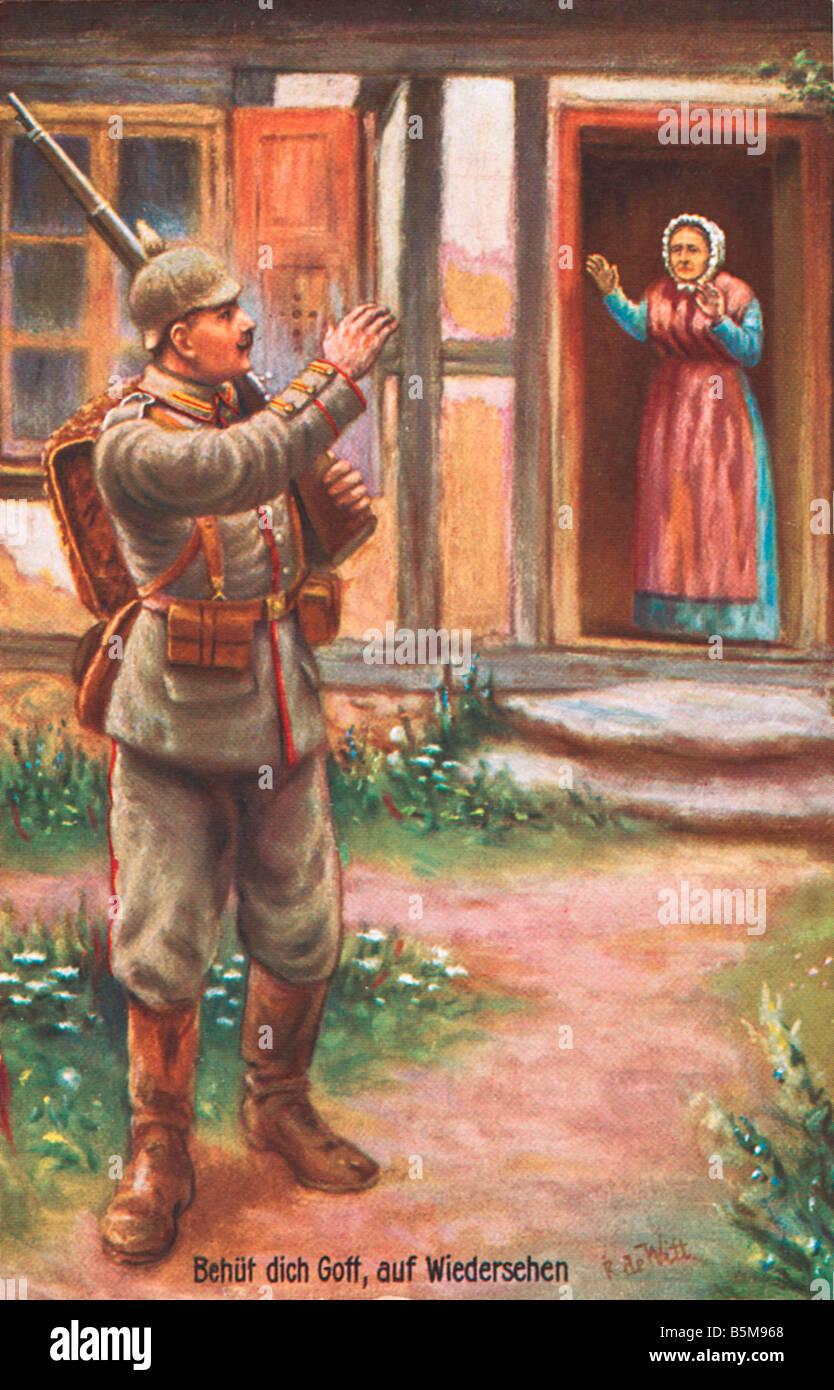 2 G55 P1 1914 15 God Protect You Postcard 1915 History World War I Propaganda God Protect You Goodbye A mother bids - Stock Image