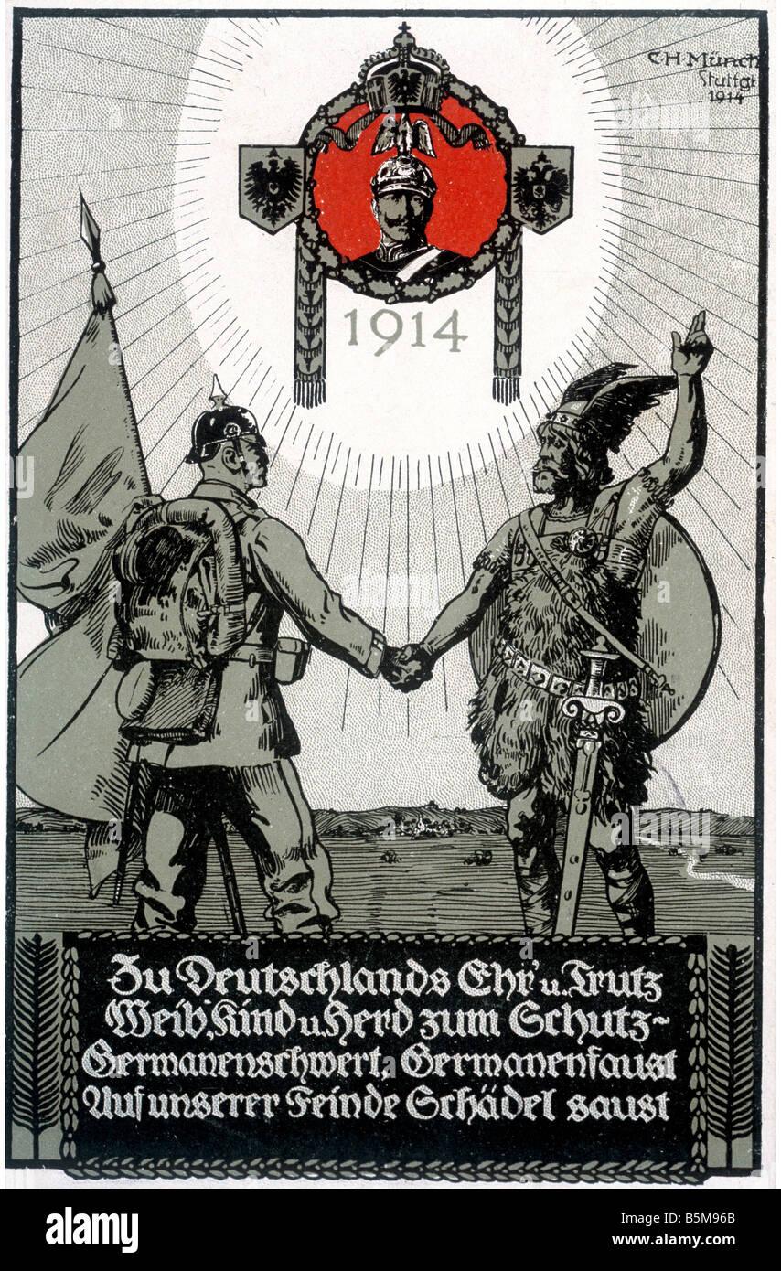2 G55 P1 1914 17 Teutonic sword Propaganda postcard History World War I Propaganda Germanenschwert Germanenfaust - Stock Image