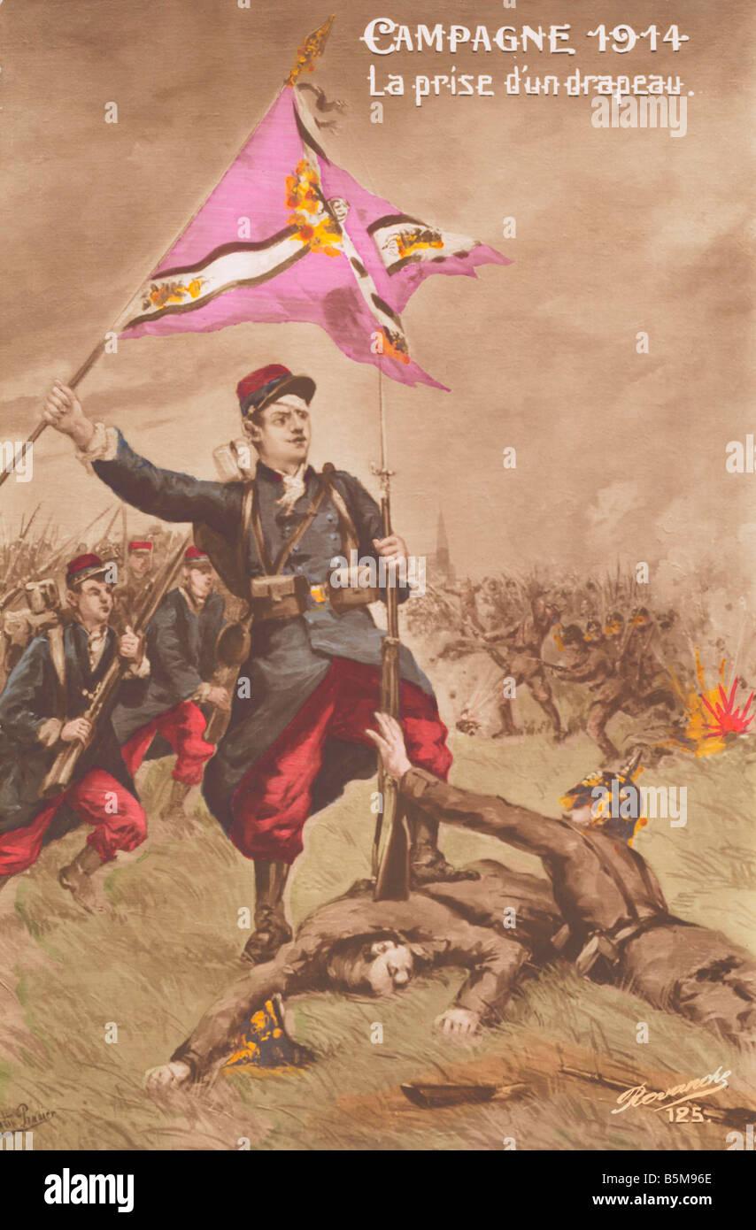 2 G55 P1 1914 21 Campagne 1914 WWI French postcard History World War I Propaganda Campagne 1914 La prise d un dra - Stock Image