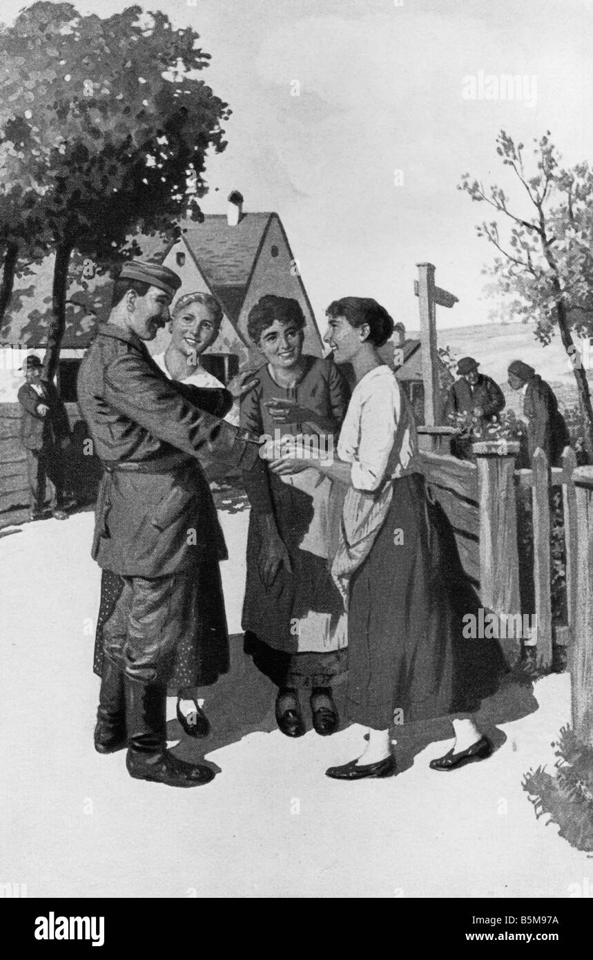 2 G55 P1 1914 35 German soldier women WWI Postcard History World War I Propaganda Gruess Gott A German soldier greets - Stock Image