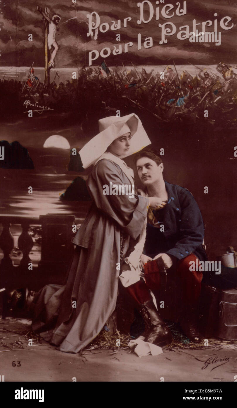 2 G55 P1 1914 53 E For God and Fatherland WWI Postcard History World War I Propaganda Pour Dieu pour la Patrie For - Stock Image