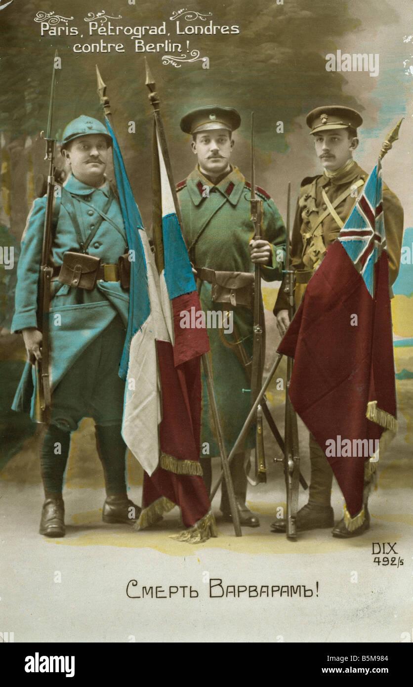 2 G55 P1 1914 56 E Personification of Triple Entente History World War One Propaganda Paris Petrograd Londres contre - Stock Image