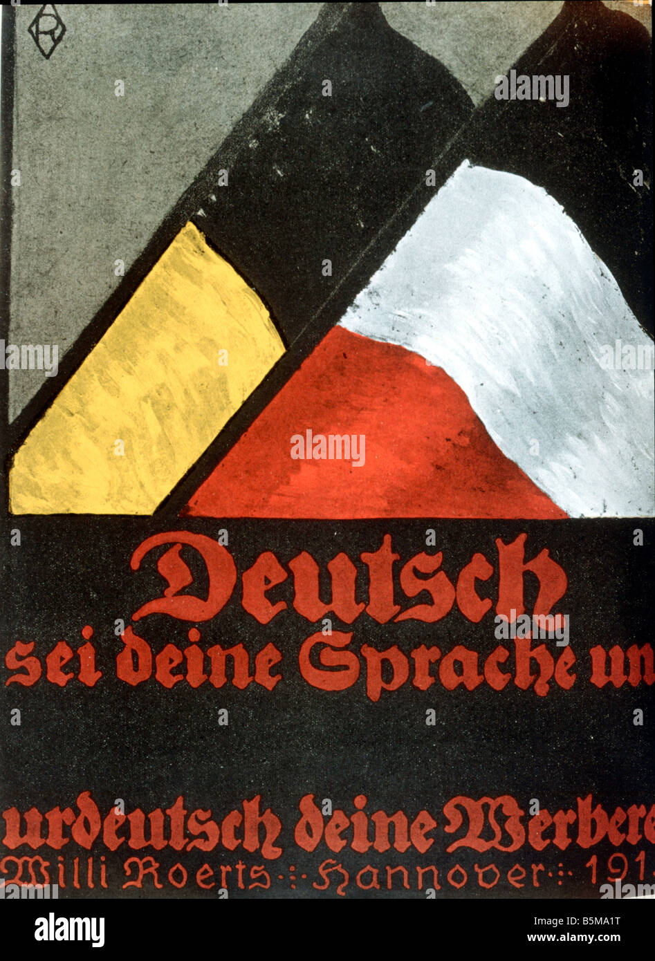 2 G55 P1 1915 11 E German is your language Poster 1915 History World War I Propaganda German is your language and - Stock Image