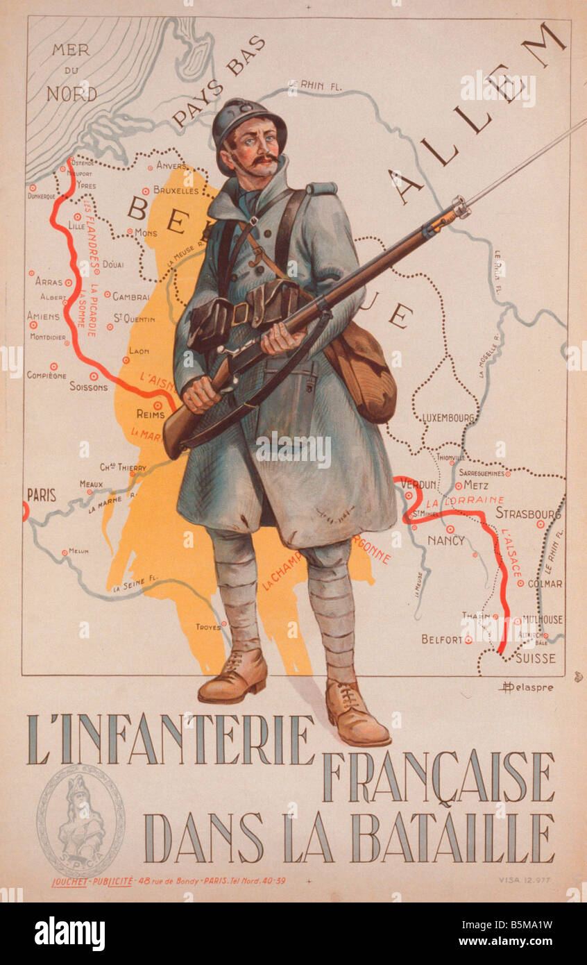 2 G55 P1 1915 114 WW I Infanterie Francaise Poster 1915 History World War I Propaganda L INFANTERIE FRAN AISE DANS - Stock Image