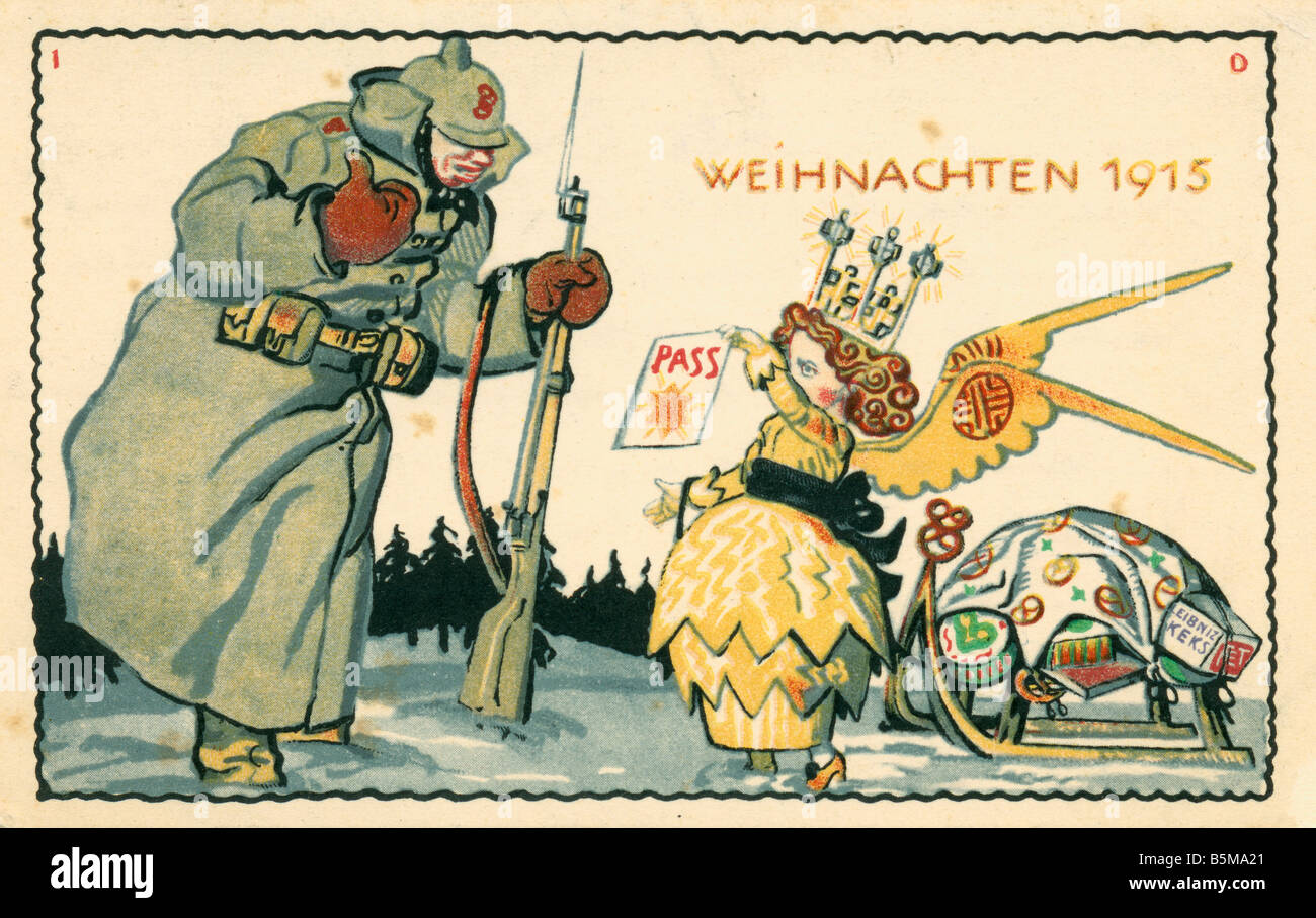 2 G55 P1 1915 12 Christmas 1915 Advert postcard WWI History World War I Propaganda Christmas 1915 Publicity postcard - Stock Image
