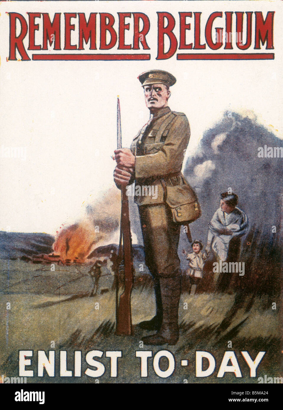 2 G55 P1 1915 124 WW1 Propaganda Remember Belgium History World War One Propaganda REMEMBER BELGIUM ENLIST TO DAY - Stock Image