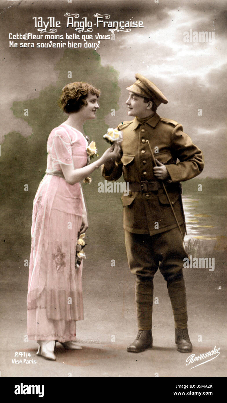 2 G55 P1 1915 60 E Idylle Anglo Francaise Postcard WWI History World War I Propaganda Idylle Anglo Francaise French - Stock Image