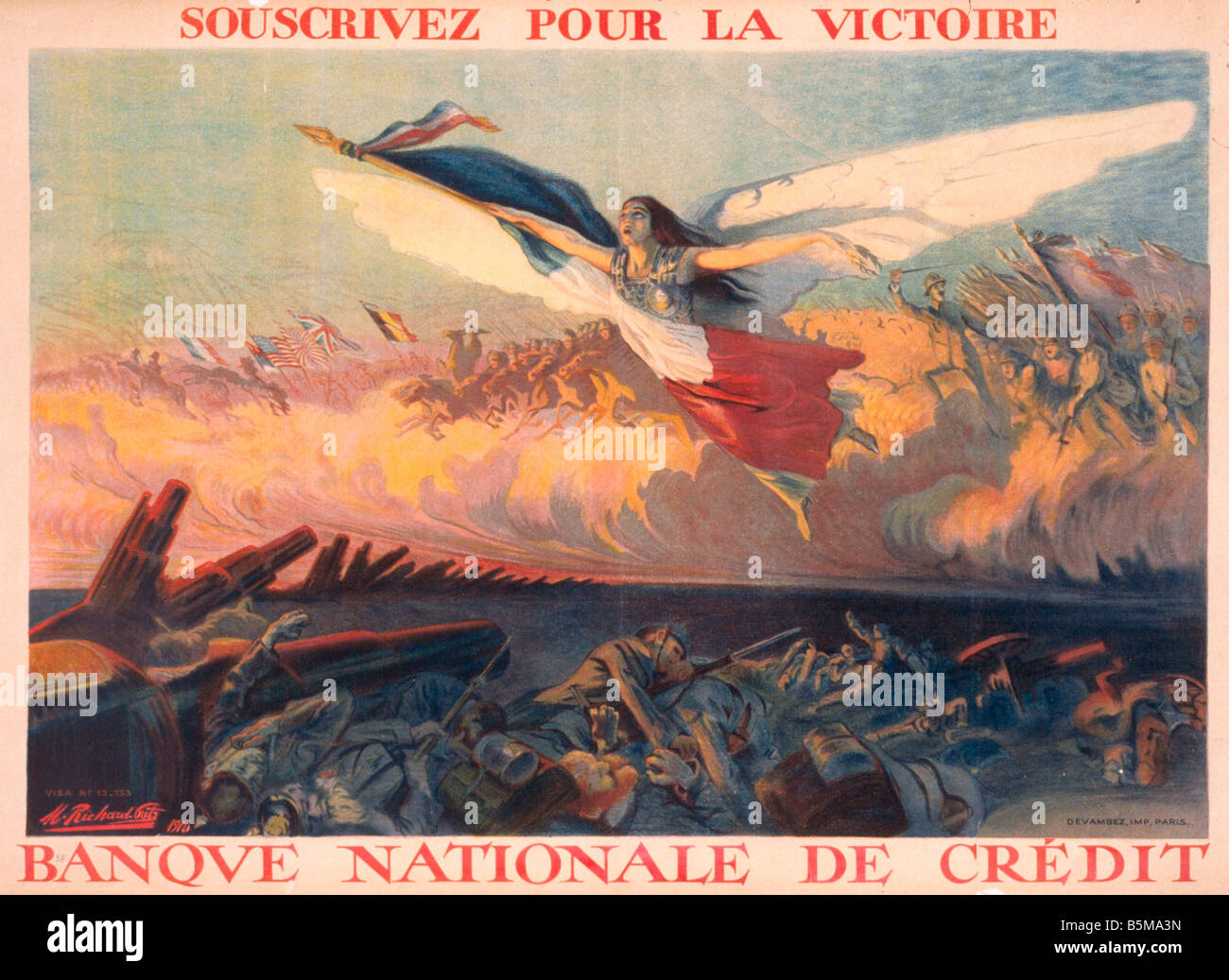 2 G55 P1 1916 42 WW I War Loans French Poster 1916 History World War I Propaganda Souscrivez pour la victoire Banque - Stock Image