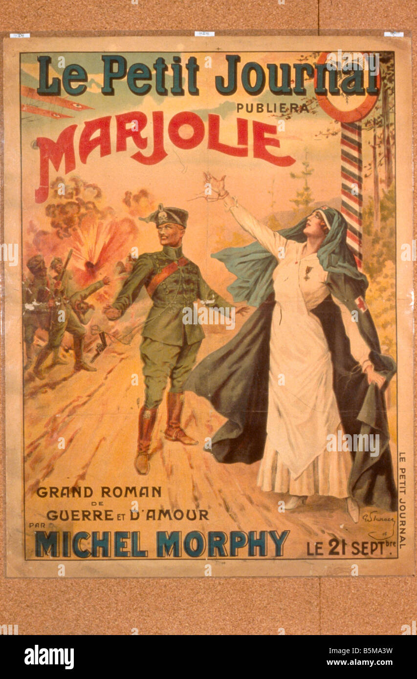 2 G55 P1 1916 44 WW I War Novel Poster 1916 History World War I Propaganda Le Petit Journal publiera Marjolie Grand - Stock Image