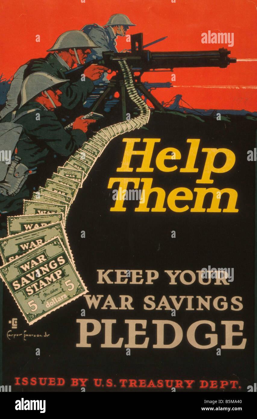 2 G55 P1 1917 20 1 Help Them Poster USA WW I History World War I Propaganda Help Them Keep Your Saving Pledge propaganda - Stock Image