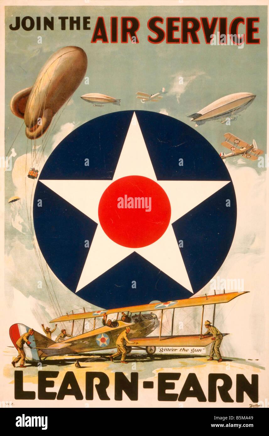 2 G55 P1 1917 39 WW I US Air Service Propaganda Poster
