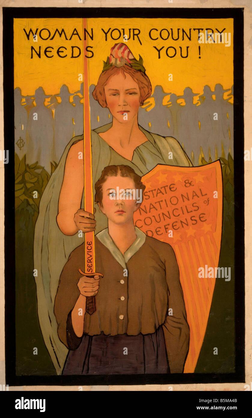 2 G55 P1 1917 40 WW I USA Woman your country needs you History World War I Propaganda Woman your country needs you - Stock Image