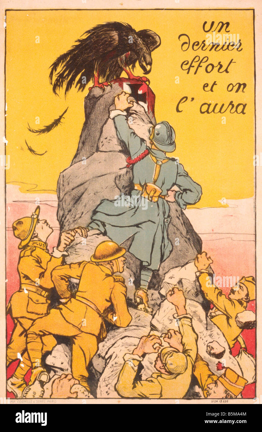 2 G55 P1 1917 50 WW I Un dernier effort French Poster History World War I Propaganda Un dernier effort et on l aura - Stock Image