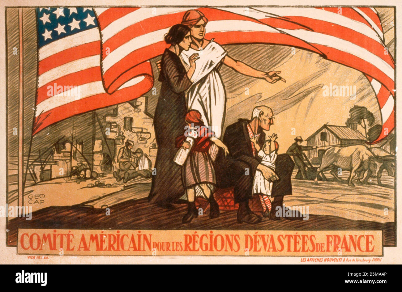 2 G55 P1 1917 51 WW I Americ War Relief in France Poster History World War I Propaganda Comite Americain pour les - Stock Image