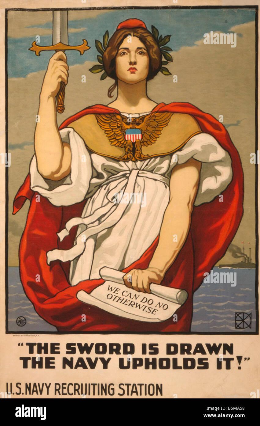 2 G55 P1 1917 60 WW I US Navy Recruiting Poster 1917 History World War I Propaganda The sword is drawn the Navy - Stock Image