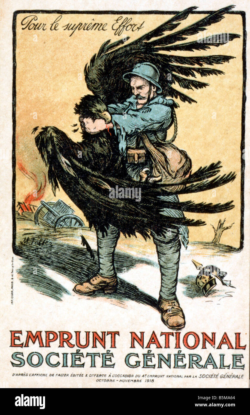 2 G55 P1 1918 16 Pour le supreme Effort Bildpostkarte Geschichte 1 Weltkrieg Propaganda Pour le supreme Effort Emprunt Stock Photo