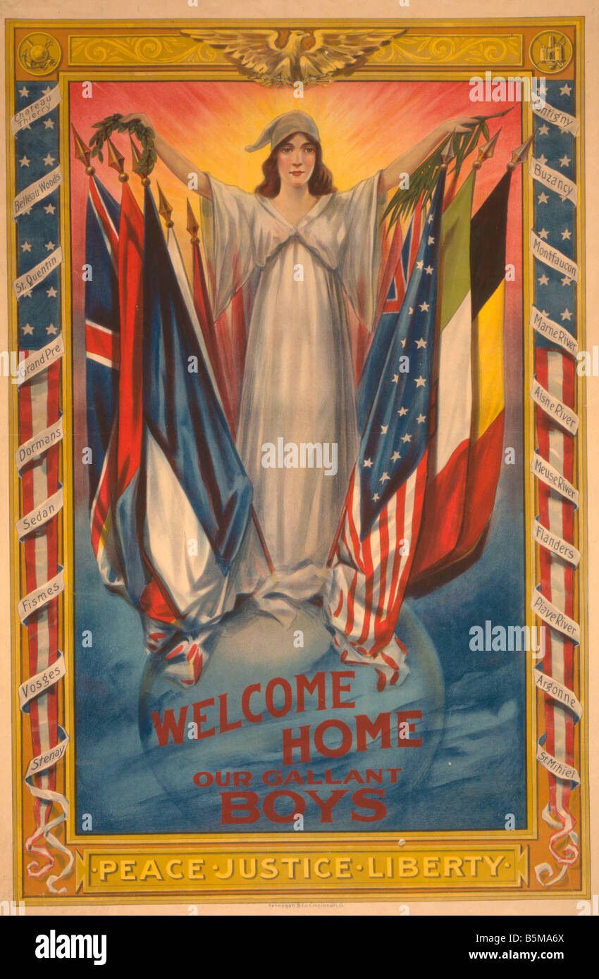 2 G55 P1 1918 60 WW I Welcome home Poster USA 1918 History World War I Propaganda Welcome home our gallant boys - Stock Image