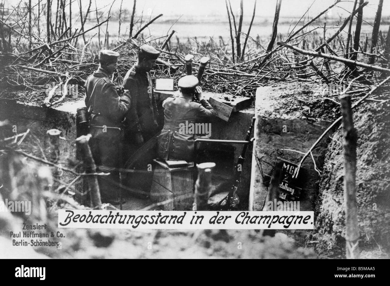 2 G55 W1 1915 16 Western Front German observation post History WWI Western Front Observation post of German troops - Stock Image