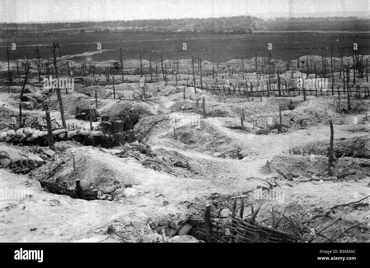 2 G55 W1 1915 21 E WWI German positions at Sabot 1915 History WWI Western Front German positions in the forest of - Stock Image