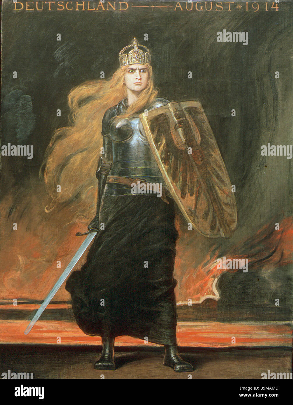 2 G75 G1 1914 1 B E Germania F A Kaulbach History Germania Germany August 1914 Painting 1914 by Friedrich August Stock Photo