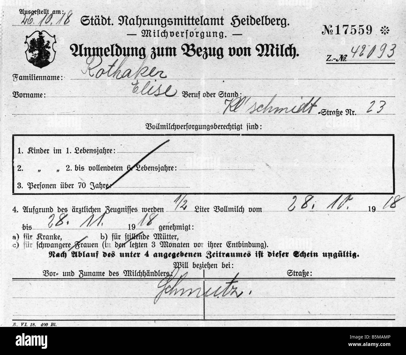 2 G75 L1 1918 1 E Food Rationing Purchase of Milk 1916 History Stock Application Form Germany on application form german, application form switzerland, application form greece, application form singapore,