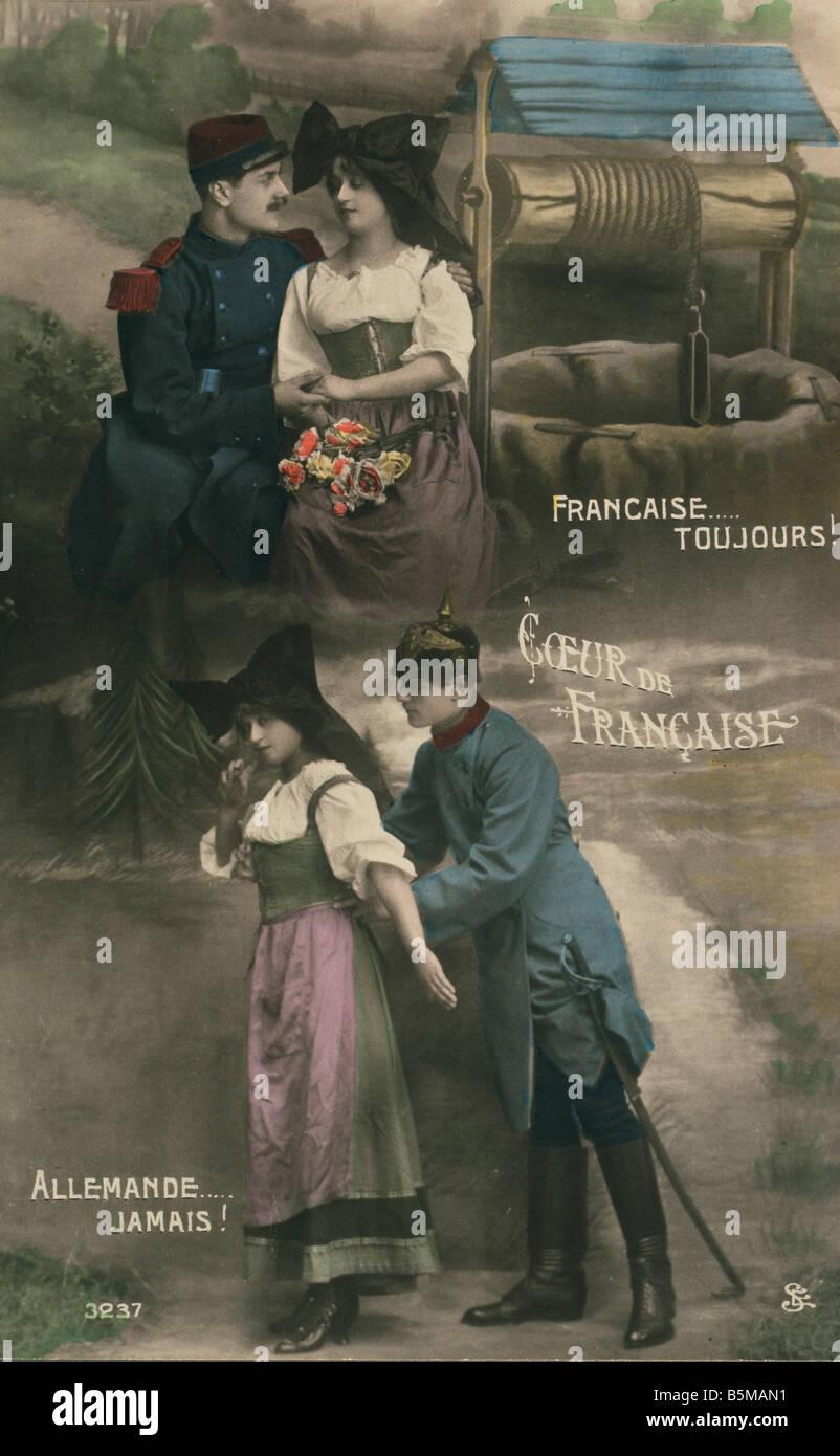 2 G77 E1 1914 5 WWI Propaganda France Postcard History France Alsace Lorraine 1871 1919 part of German Empire Francaise - Stock Image