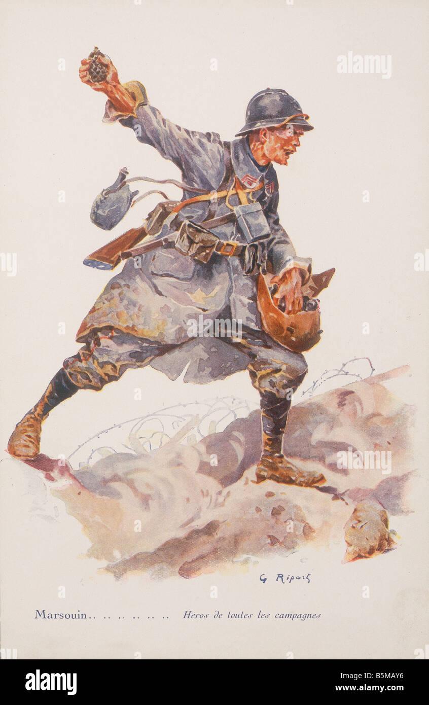 2 M70 F1 1914 15 E French naval infantryman Colour print Military Countries France Marsouin Heros de toutes les - Stock Image