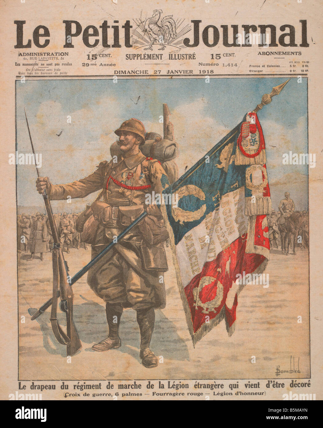 2 M70 F1 1918 E Foreign Legion Petit Journal 1918 Military Countries France Foreign Legion Legion etrangere made - Stock Image