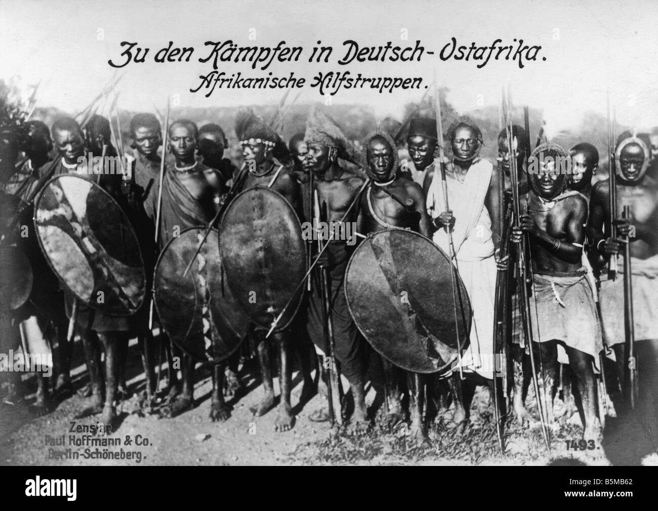 African auxilliary troops c 1915 Ethnology Africa African auxilliary troops from German East Africa Tanzania Photo - Stock Image