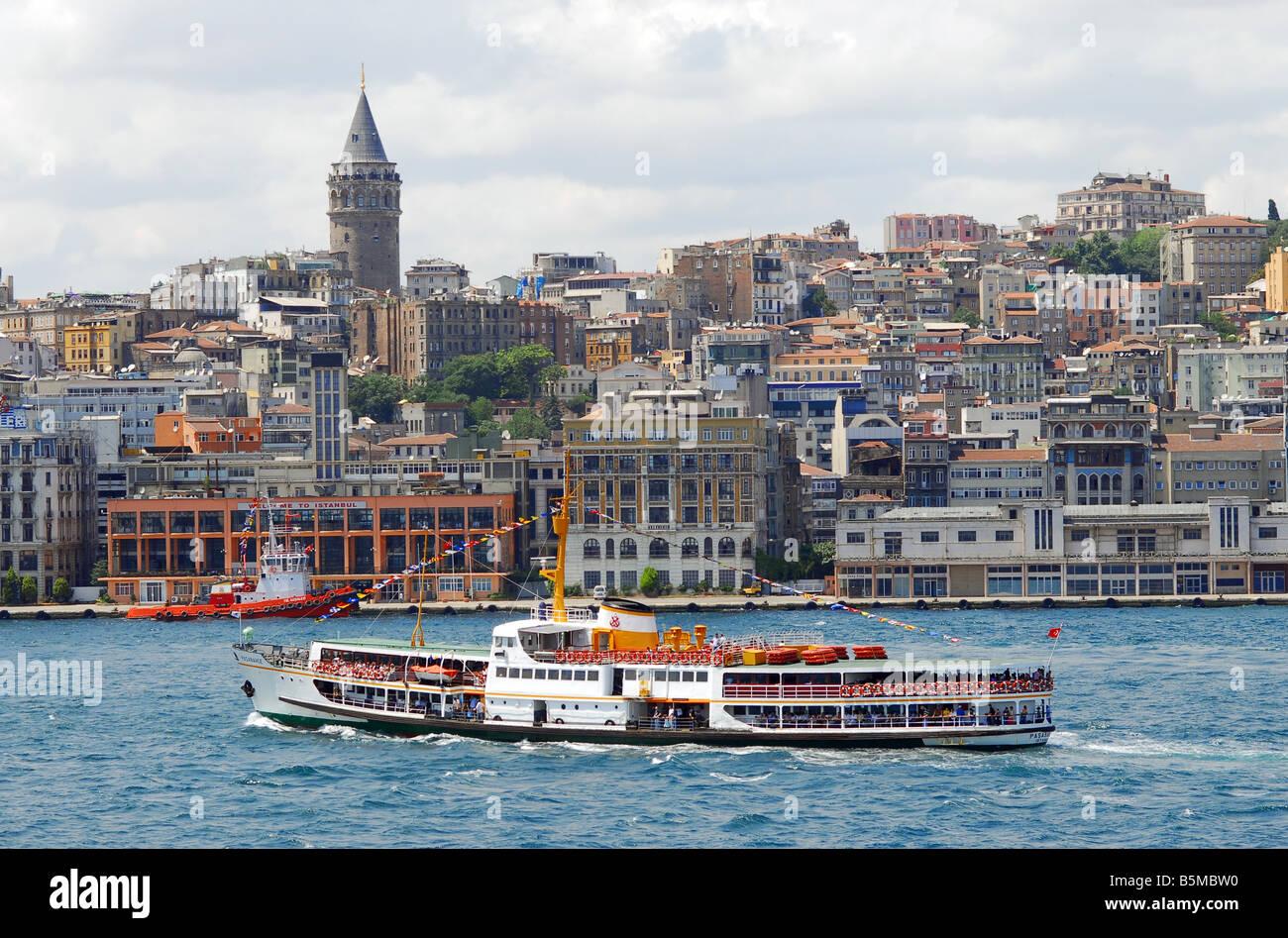 passenger ship on bosphorus,İstanbul Stock Photo