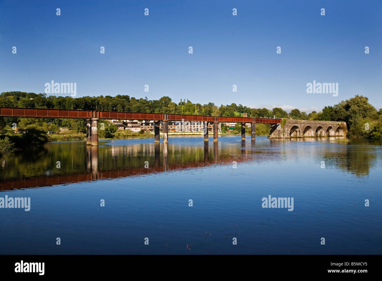 The Blackwater River and old the Railway Bridge, Cappoquin, County Waterford, Ireland - Stock Image