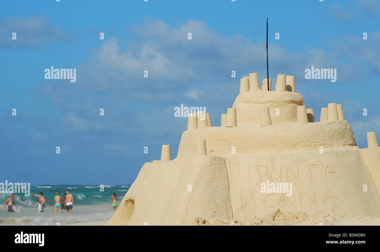 A big sand castle in Punta Cana Beach, Dominican Republic. - Stock Image